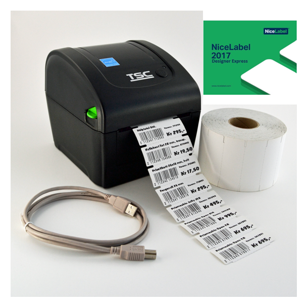 Pakke med etikettskriver & hyllekant etiketter