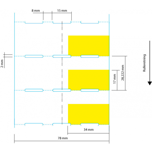 Hyllekant etikett på rull, 78x28 mm, hvit med gult prisfelt
