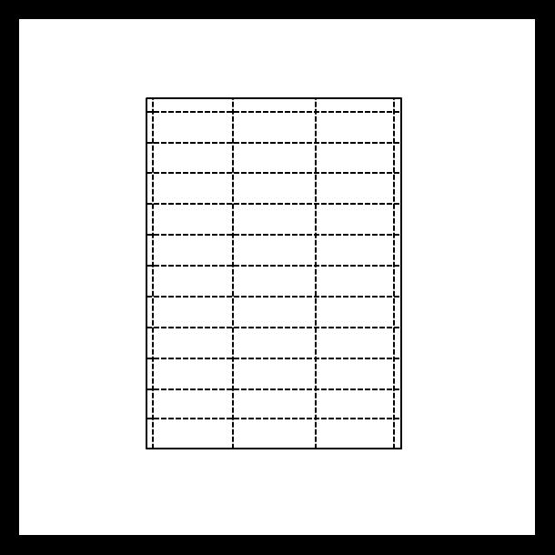 Hyllekant etikett på A4 ark, 65x25,5 mm, perforert