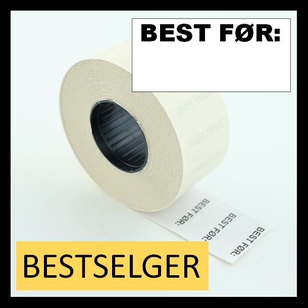 """Etikett 26x12 mm hvit fortrykket """"BEST FØR:"""" permanent lim rektangulær"""